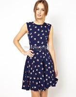 New 2014 summer casual dress European sexy lace chiffon dress sleeveless  women dress