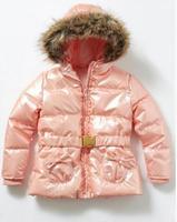 Good Quality Girls Warm Hooded Jacket Coat : Children Female Bright side Down Outerwear with Belt Winter Windproof  Waterproof