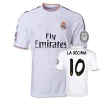New 13/14 Real Madrid Home White Orange #10 LA DECIMA Jerseys 2013-2014 Cheap Soccer Unforms 13-14 Footabll kit Mix Order