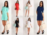 , 2014 New Fashion Elegant Celebrite Middle Sleeve Party Casual Mini Women's Pencil Dresses Size S M L XL