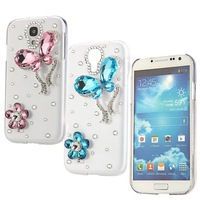 Crystal Bling Rhinestone Case Cover Skin for Samsung Galaxy S4 i9500 Blue Pink