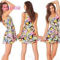 High Fashion Women Summer Dress 2014 Adventure Time Montage Dress Black For Girls Womens