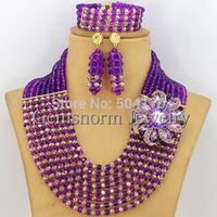 African Crystal Beads Jewelry Set Wholesale Fashion Purple/Gold Nigerian Wedding Beads Jewelry Set Free Shipping GS149