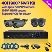 4*720P HD IP CAMERA CCTV System 4CH FUII 960P NVR CCTV IP CAMERA KIT Night Vision camera surveillance Security NVR HDMI 1080P