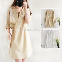 Mori girl long-sleeve dress elegant fluid loose waisted crochet cotton big bottom girl winter dress desigual vestidos longos