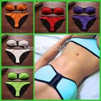 2014 New Sexy Zipper Bandeau Swimwear Neoprene Bikini Set Swimwear  Women's Fashion  Neoprene Bikinis 203