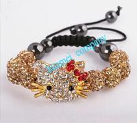 New arrive jewelry sets wholesale DHL/EMS Free Shipping  micro pave cz Disco Beads Crystal Women Men Shamballa Bracelet hello