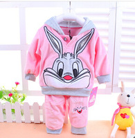 Free Shipping New 2014 Baby Clothing Cartoon Rabbit Velvet Clothing  Sets Long Sleeve Set Hoodies And Pant Baby Clothes