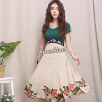 2014 New Spring/Summer Flower Print Women Dress Short Sleeve Ball Gown Dress woman summer Ethnic print dress B11 SV003702