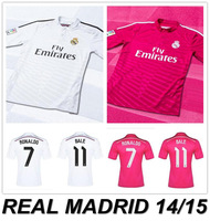 New arrival 14/15 real madrid home/away best quality fans version ronaldo kaka bale sergio ramos ozil soccer football jersey,