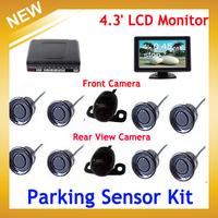 4.3' Car Monitor Reverse Backup Radar Monitor System 8 Sensor with Front View Camera and Rear view Camera,Free Shipping