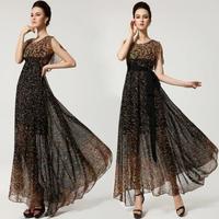 2014 Summer Women's Elegant Chiffon sleeveless dress Plus size(S-XL) Fashion Print put on a large senior dress for Female