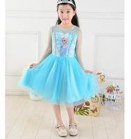 Retailer 2015 Elsa Dress Custom made Movie Cosplay Dress Summer Girl Dress Princess Elsa Costume for Children GD40322-01