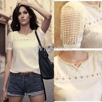 New 2014 Hot spring summer blouses v-neck women chiffon blouse  Solid Fashion backing shirt  plus size S/M/L/XL/XXL 7050