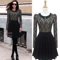 2014 New women's Puff Slim Waist retro Black dress Ladies'long-sleeved Lace pleated Turn-Down collar dress Spring&Autumn