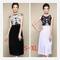 New 2014 summer women's Plus Size S-XL Black\White chiffon dress floral print Slash Neck dress for female Europe&America Style