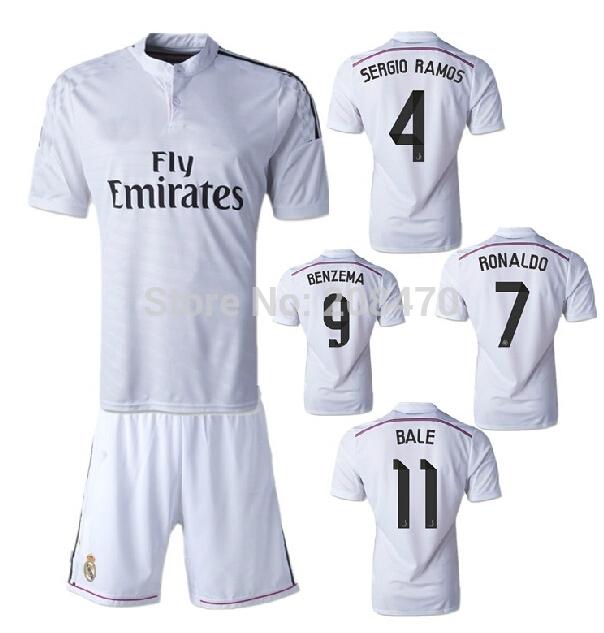 New 14 15 Real Madrid home white jerseys #7 Ronaldo player football uniform #4 Sergio Ramos thai quality designer sport kits(China (Mainland))
