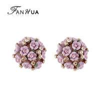 Romantic Pink Resin Flower Rhinestone Gold Color Zinc Alloy Fashion Designer Stud Earrings New 2014 Brincos for Women