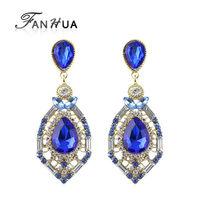 Classic Blue Rhinestone Alloy Luxury Designer  Drop Earrings New 2014 Brincos for Women