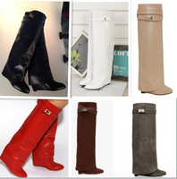 High Quality Celebrity Star Wearing Women wedge Riding Boots Fashion Knee High Leather Wedge Winter Boots With Shark Lock