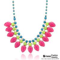 Fashion Punk Choker Colorized Lint Wrap Knit Resins Beads Statement necklaces&pendants Vintage Brand Jewelry (Silveren NE100827)