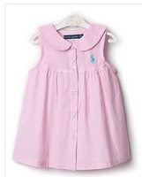 Brand NEW baby girls kids sleeveless Orginal Plo-pol woven lapel pinstripe 100%cotton casual princess dress