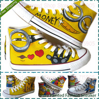 Despicable Me 2 One Eye Minion Style Adult Canvas Shoes for Men And Women Sneaker Hand-painted Sneakers High Lace-up Size 35-45