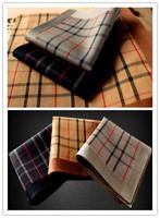 New Arrival 3PCS/LOT high quality men's business handkerchief  100% cotton plaid gentlemen hanky pocket squares 44*44cm  soft