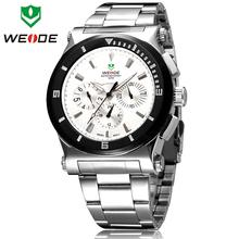 Weide marca de lujo completa para hombre de acero reloj de pulsera de cuarzo suizo Original de 6 manos fecha día moda reloj deportivo relojes de estilo de negocios