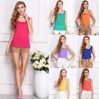 SZ009 2014 New Fashion Summer Women's Round Neck Candy Causal Chiffon Blouse Shirt Tops For Women Blusas Femininas