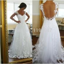 Лучшие продажи в наличии сексуальная назад свадебное платье аппликация белый кружева свадебное платье длиной до пола свадебные платья для свадьбы ну вечеринку