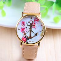 5 Colors New Fashion Leather Anchor GENEVA Watches For Women Dress Watch Quartz Watches 1pcs/lot