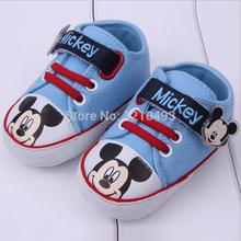2014 New 1 Pair Newborn PreWalkers First Walker Baby Shoes Infants Toddler Mickey Cotton Cartoon Newborn Boys Shoes Footwear(China (Mainland))