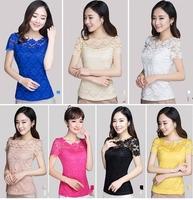 Summer New Short Blusas Femininas Womens Tops Fashion 2014 Lace Shirt Short Sleeve O-neck Chiffon Shirt&Blouse Blusas Com Renda