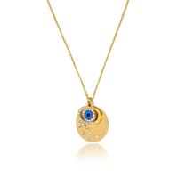 New Arrival Big Blue Imitation Gem Evil Eye Pendant With Tear Drop Necklace CZ Crystal Necklace