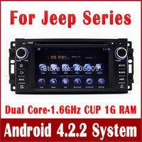 Android 4.2 PC Car DVD Player for Jeep Compass Grand Cherokee Wrangler w/ GPS Navigation Radio TV BT DVR 3G WIFI 1.6G CPU+1G RAM