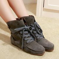 2014 Unisex Autumn Retro Lace-up Casual Flat Shoes Size 35-41 Flats Martin Boots Winter Women Men Ankle Boots Botas Femininas