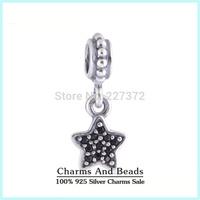 2014 New Pave Zircon Stone Star Dangle 925 Sterling Silver Pendant Thread Charms Fits Pandora Style Bracelets Bangles