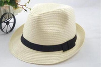 New 2014 fashion womens mens Unisex solid straw sun hat Fedora Trilby Gangster Cap Summer Beach couple hat
