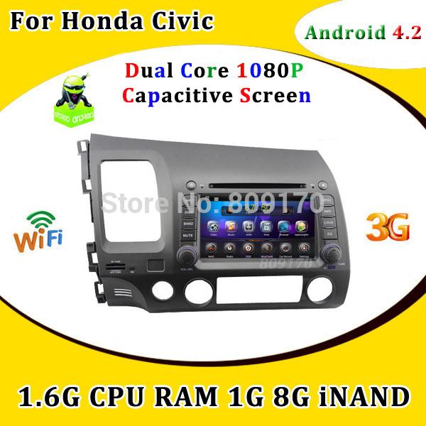 Android 4.2 Capacitive Screen Car DVD for Honda Civic 2006-2011 GPS Navigation 1.6G CPU,Radio,IPOD,Built-in Wifi,Free 8G Map !!(China (Mainland))