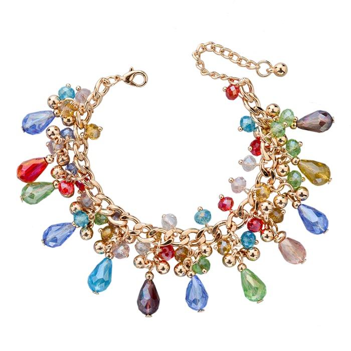 Candy Color Handmade Charm Bracelets & Bangles For Women European Crude Metal Crystal Flower Cuff Bracelet 20 Colors SBR140193(China (Mainland))