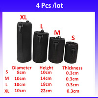 New 2014 4 PCS Brand New Matin Neoprene Soft Protector Camera Lens Pouch Bag Waterproof Backpact Case Bag Size S M L XL Bags