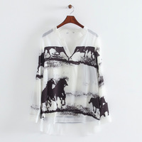 2014 women casual chiffon ink wild horses landscape blouse v-neck foldable full sleeve leisure top 315221