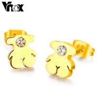 Fashion bear stud earrings  wholesale  stainless steel cute bear earrings for women and girls jewelry