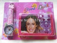 Drop shipping 4pcs 3D cartoons Violetta kids watch fashion children Wristwatch and wallet Violet