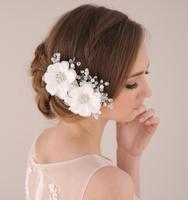 Handmade Crystal Pearl Wedding Hair Flower Bridal Hair Accessories Flower Rhinestone Bridal Headdress White Head Piece WIGO0312