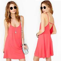 New 2014 Europe Fashion Sexy Low Bosom Tank Beach Dress Neck Deep V-Back Casual Seaside Condole Belt Dress