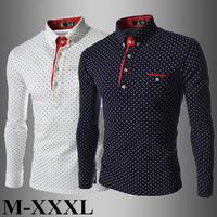 New 2014 Fashion Gentleman Style Polka Dot Men Shirt Casual Long Sleeve Cotton Shirt M-XXXL