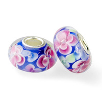 Minimum Order $10 Free Shipping 2Pcs European Lampwork Glass Beads Murano Silver Charm Bead Fit bracelets & bangles S103