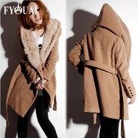 FYOUAI Fashion women wool coat new style fashion winter causal Hooded jacket with belt casacos femininos 2014 autumn coat women